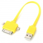 USB 2.0 to Micro USB / 8pin Lightning / 30pin Data Cable for iPhone 5 / 4S / Samsung i9500 - Yellow