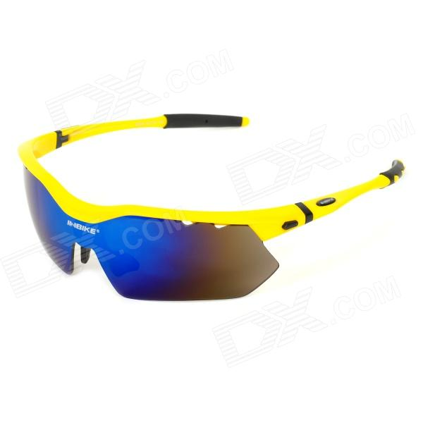 INBIKE IG639 Outdoor Cycling UV Protection Sunglasses w/ Replacement Lens - Black + Yellow topcycling pc frame tr90 lens cycling polarized sunglasses black