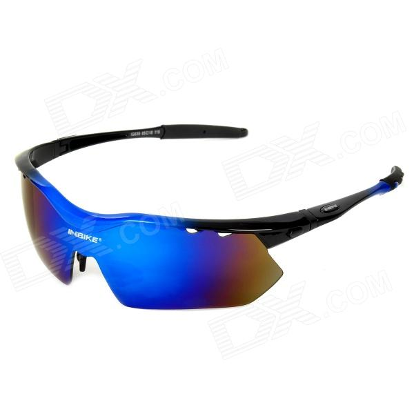 INBIKE IG639 Outdoor Cycling UV Protection Sunglasses w/ Replacement Lens - Black+ Blue reedoon f207 radiation blue ray protection tr90 frame resin lens gaming glasses black blue
