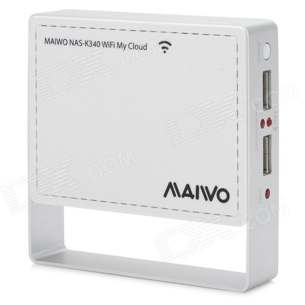 MAIWO NAS K340 Wi-Fi Wireless Network External Hard Disk Enclosure - White + Silver (4GB)