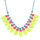 Titanium Alloy + Acrylic Collar Pendant Necklace - Yellow Green + Blue + Deep Pink