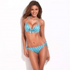 RELLECIGA 033132001-600S Diagonal Stripes Pattern Tying Band Push-Up Padded Bikini Swimsuit (Size S)