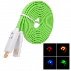 Flashing Smile USB 2.0 Male to Lightning 8-Pin Data Charging Cable - Green (100cm)