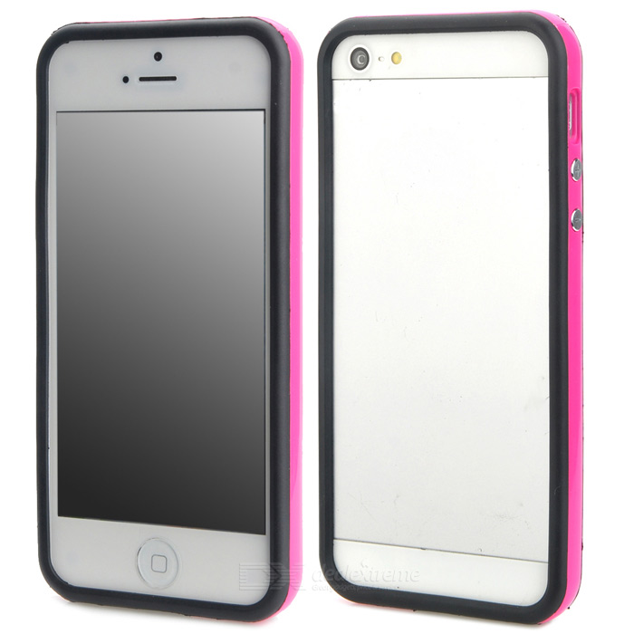 Protective TPU Bumper Frame w/ Buttons for Iphone 5 - Deep Pink + Black