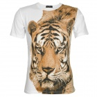 Tiger Pattern Men's Cotton Short Sleeves T-shirt - White (Size-L)