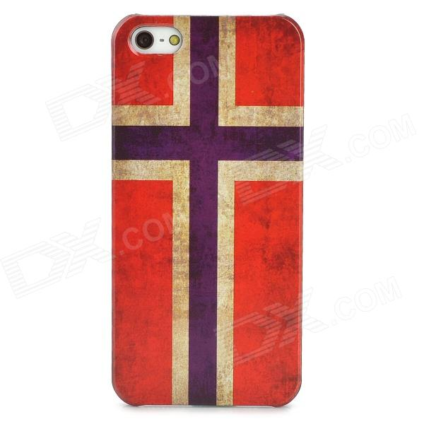 Protective Norway National Flag Pattern Plastic Back Case for Iphone 5 - Red + Earthy Yellow + Blue holes pattern protective tpu back case for iphone 6 plus 5 5 yellow