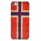 Protective Norway National Flag Pattern Plastic Back Case for Iphone 5 - Red + Earthy Yellow + Blue