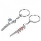 Creative Comb & Scissors Style Zinc Alloy Couple's Keychains - Silver (Pair)
