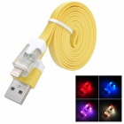 USB Male to Lightning 8-Pin Male Data Charging Flat Cable - Yellow (1m)