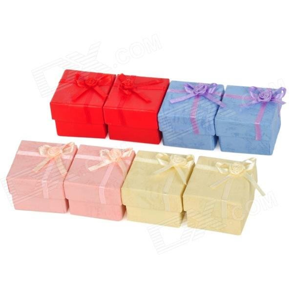 Square Shaped w/ Bow Small Jewelries Storage Boxes - Multicolored (8 PCS)