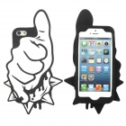 Rock Gesture Style Protective Silicone Back Case for iPhone 5 - White + Black