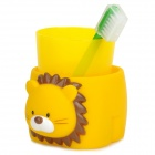 Cute Lion Style Plastic Tooth Mug w/ Toothbrush - Yellow + Green + Brown + White