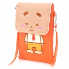 Cute Cartoon Style PU Leather Shoulder Bag for iPhone / iPod / Cell Phone - Orange