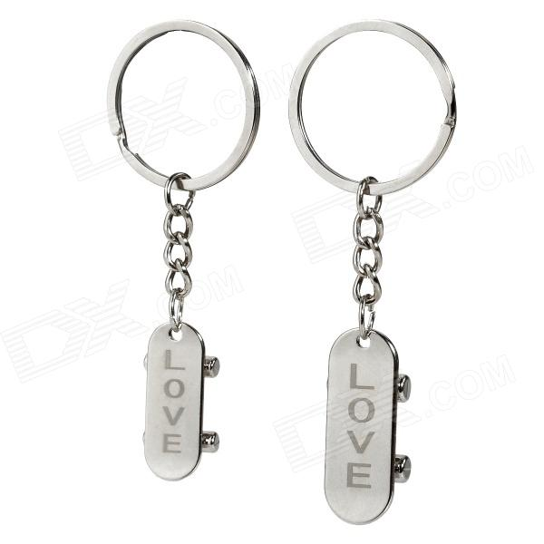 Creative Skateboard Style Zinc Alloy Couple's Keychains - Silver (Pair) тумба с раковиной aquaton венеция 65 белая умывальник венеция 650