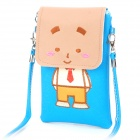 Cute Cartoon Style PU Leather Shoulder Bag for iPhone / iPod / Cell Phone - Blue