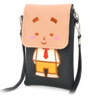 Protective Cartoon Style PU Leather Bag with Strap for iPhone + Cell Phone - Black