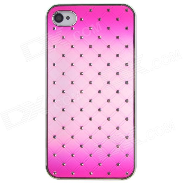 Rhinestone + PC Protective Back Case for Iphone 4 / 4S - Deep Pink virgo pattern protective abs pc hard back case w rhinestone for iphone 5 deep pink white