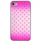 Rhinestone + PC Protective Back Case for Iphone 4 / 4S - Deep Pink