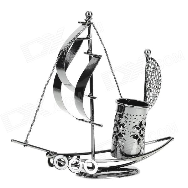 Sailing Boat Iron Desktop Pen Container Decoration - Silver luxury silver clip blue and white rollerball pen duke 318 exquisite medium refill black ink guanyu gift pens with a gift box