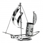 Sailing Boat Iron Desktop Pen Container Decoration - Silver