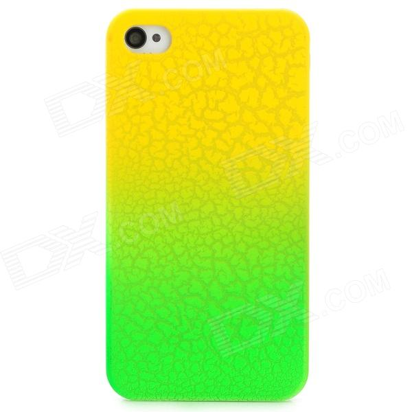 Protective Fissure Pattern PC Back Case for Iphone 4 / 4S - Green + Yellow stylish 3d eagle pattern protective abs pc back case for iphone 4 4s multicolored