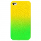 Protective Fissure Pattern PC Back Case for Iphone 4 / 4S - Green + Yellow