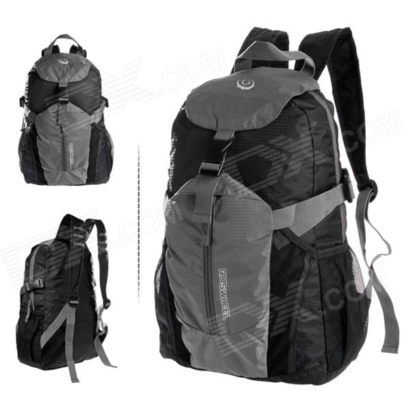 ROSWHEEL Outdoor Foldable Cycling Bicycle Nylon Backpack - Grey + Black jsz super light cycling sport nylon backpack bag black grey