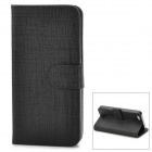 Protective Bark Grain PU Leather Flip Open Case for Iphone 5 - Black