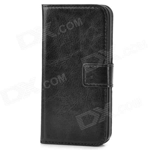 Protective PU Leather Flip Open Wallet Case for Iphone 5 - Black protective pu leather flip open case for iphone 4 4s black