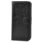Protective PU Leather Flip Open Wallet Case for Iphone 5 - Black