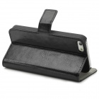PU Protective Case Open Wallet Leather Flip para Iphone 5 - Preto