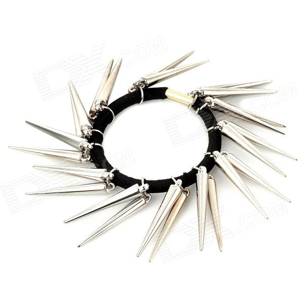 Punk Spike Style Fashionable Hair Tie - Black + Silver