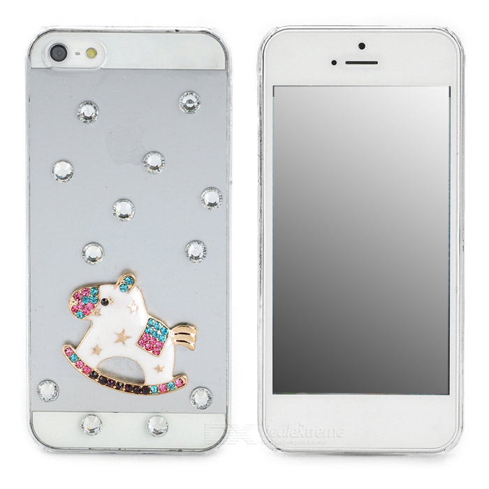 Protective Alloy Horse Decoration Rhinestone Studded Back Case for Iphone 5 - White + Transparent protective alloy horse decoration rhinestone studded back case for iphone 5 white transparent