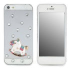 Protective Alloy Horse Decoration Rhinestone Studded Back Case for Iphone 5 - White + Transparent