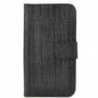 Bark Grain Style Protective PU Leather Case for Iphone 4 - Black