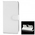 Protective Bark Grain PU Leather Flip Open Case for Iphone 5 - White + Black
