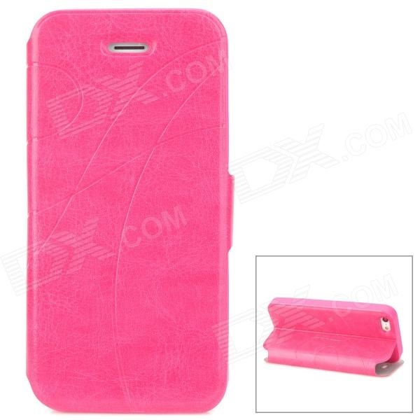 Stylish Protective PU Leather Case w/ Card Holder Slot for Iphone 5 - Deep Pink stylish protective pu leather case w card holder slot for iphone 5 deep pink