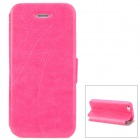 Stylish Protective PU Leather Case w/ Card Holder Slot for Iphone 5 - Deep Pink