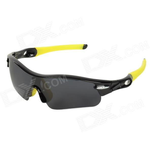 CARSHIRO T9355-1 Outdoor Cycling UV400 Protection Sunglasses w/ Replacement Lenses - Black + Yellow цена и фото