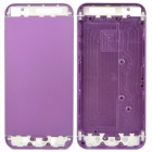 Replacement Aluminum Alloy + Glass Back Cover Housing Case for iPhone 5 - Purple + White