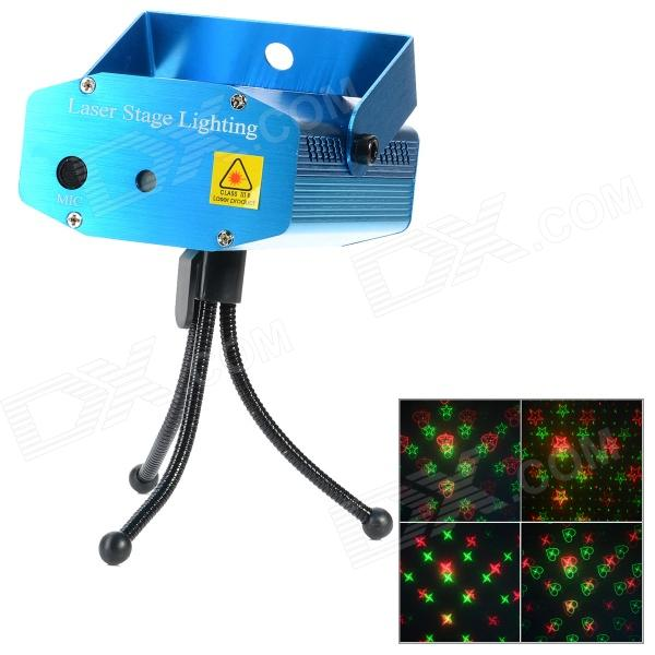 A-04 Mini Sound Control Red + Green Laser Stage Light w/ Tripod - Blue