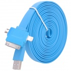 USB Male to Lightning 8-Pin / 30-Pin / Micro USB Data Charging Cable - Blue (3m)
