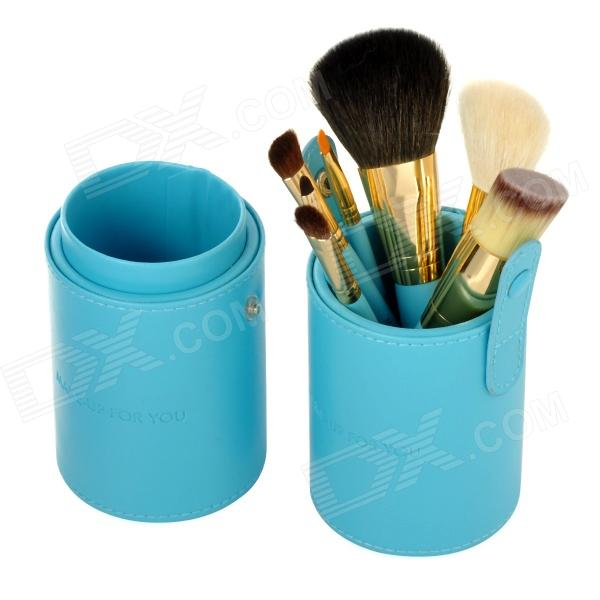 MAKE-UP FOR YOU Professional 7-in-1 Cosmetic Makeup Brushes Set w / Case - Blue