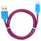 NL-5 Lightning 8-Pin Male to USB Male Data Charging Cable for iPhone 5 / iPad 4 - Blue + Deep Pink