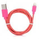 NL-5 Lightning 8-Pin Male to USB Male Data Charging Cable for iPhone 5 / iPad 4 - Orange + Deep Pink