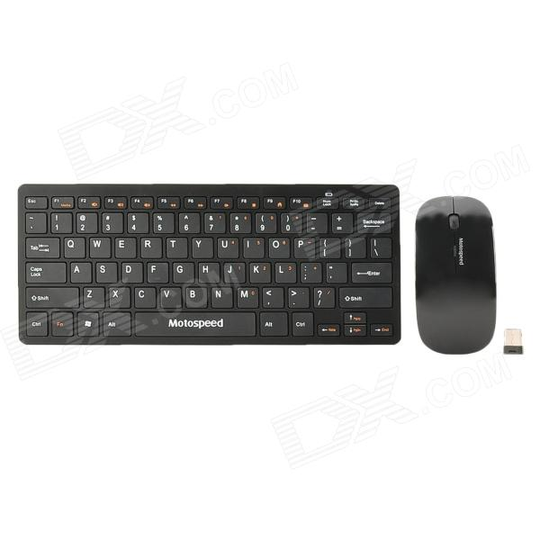где купить  Motospeed G9000 2.4G Wireless 78-Key Keyboard w/ Film + 1000dpi Wireless Mouse Set - Back (2 x AAA)  дешево