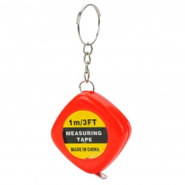 Mini Portable Tape Measure Keychain - Red + Yellow (1m)