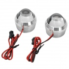 DIY 2W 150lm White LED Fish Eyes Decoration Light for Motorcycle / Electric Vehicle - Silver (2 PCS)