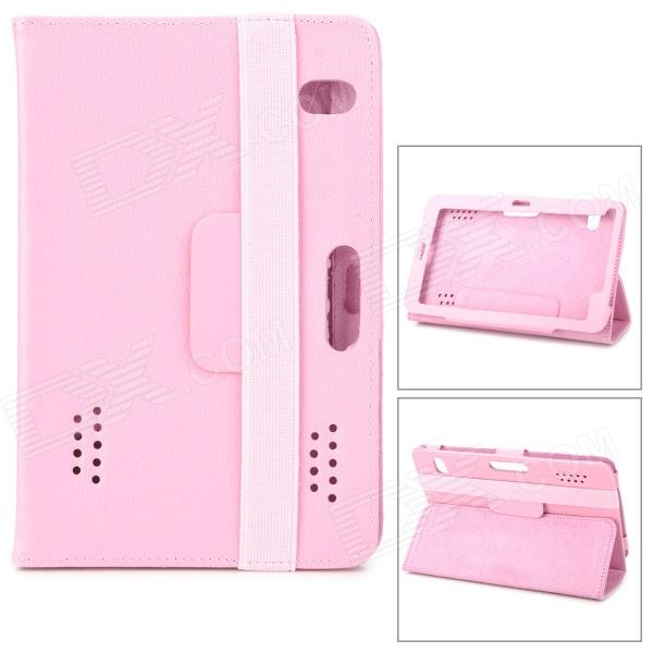 Lychee Pattern Protective PU Leather Case w/ Ventilation Holes for 7 Tablet PCs - Pink
