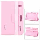 "Lychee Pattern Protective PU Leather Case w/ Ventilation Holes for 7"" Tablet PCs - Pink"